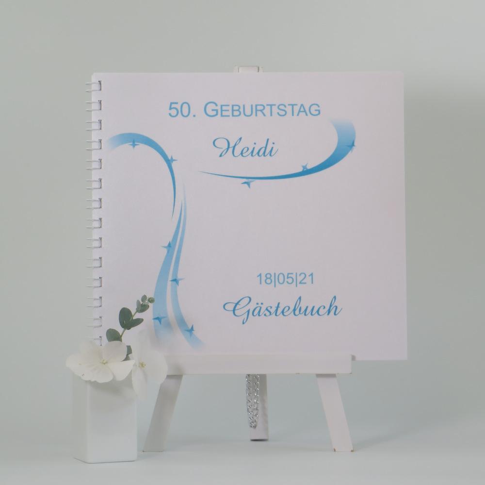 raumhaftes Gästebuch zum Geburtstag in hinreißendem türkis und schönem Sternmotiv
