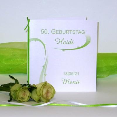 "Geburtstagsmenükarte ""Sternregen"" grün"