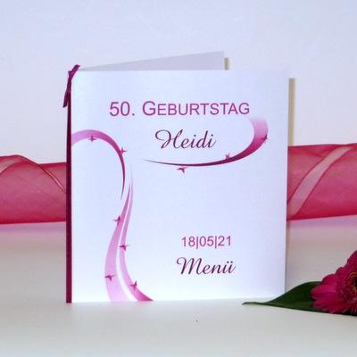 """Menükarte zum Geburtstag """"Sternregen"""" pink"""