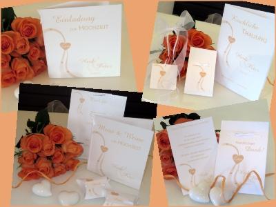 Dekorative Hochzeitspapeterie in apricot und weiß.