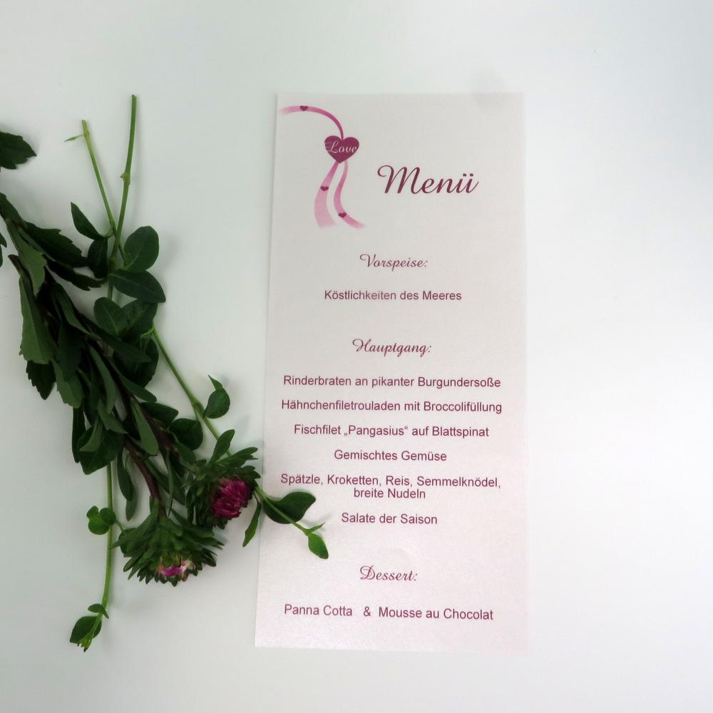 Geschmackvolle Menükarte für eine Hochzeit in pink und weiß.