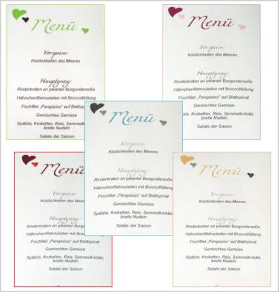 Hochzeitsmenükarten mit einer großen Farbvielfalt.