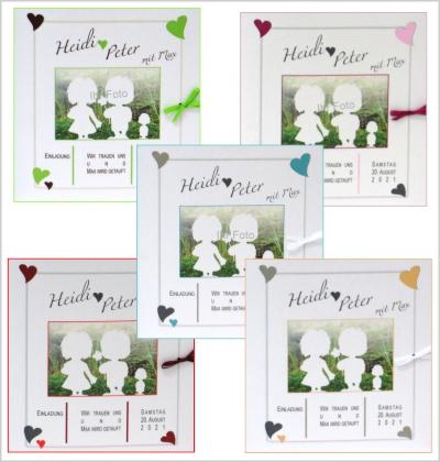 Einladungskarten zur Traufe mit Foto in verschiedenen Farben.