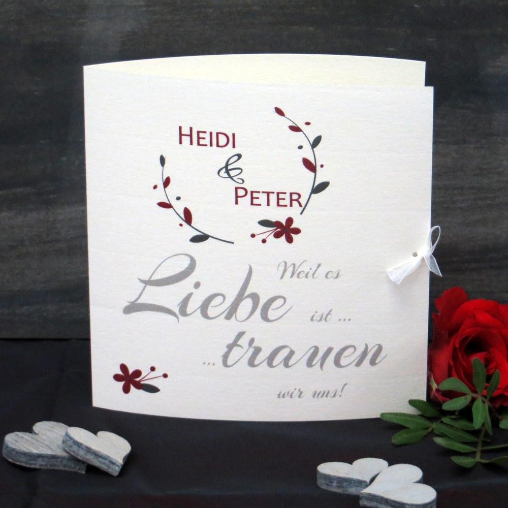Hochzeitseinladung Amour rot