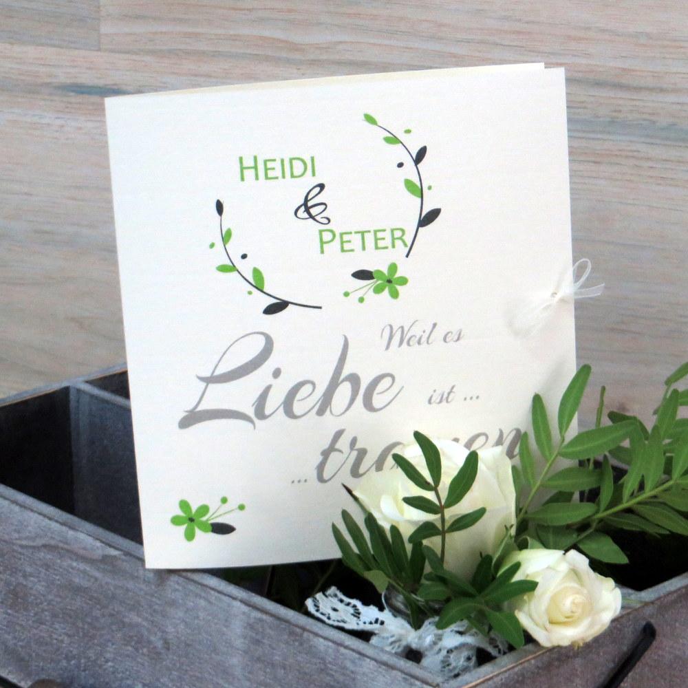 Hochzeitseinladung Amour grün