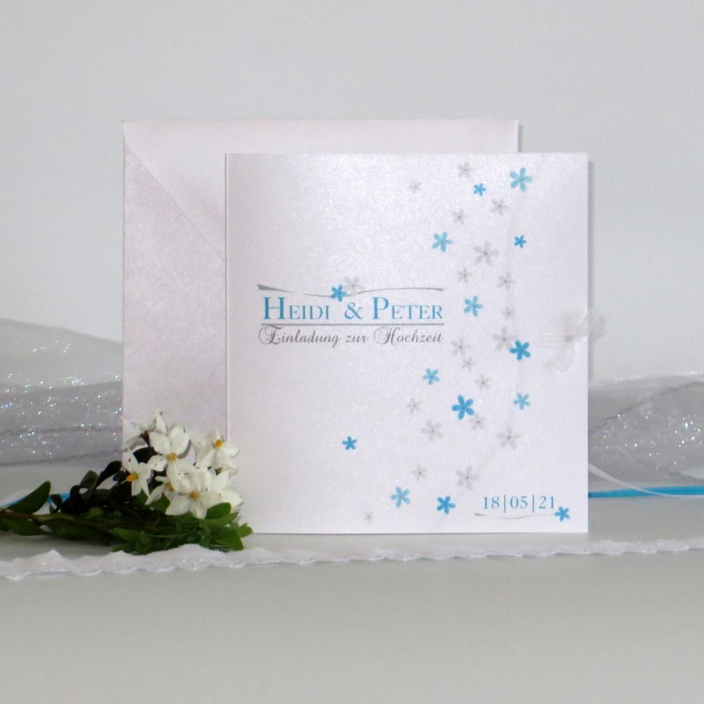 """Hochzeitseinladung """"Blumenmeer"""" türkis"""