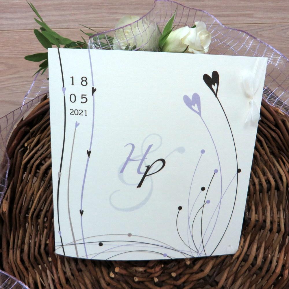 Hochzeitseinladung Liebesglück flieder