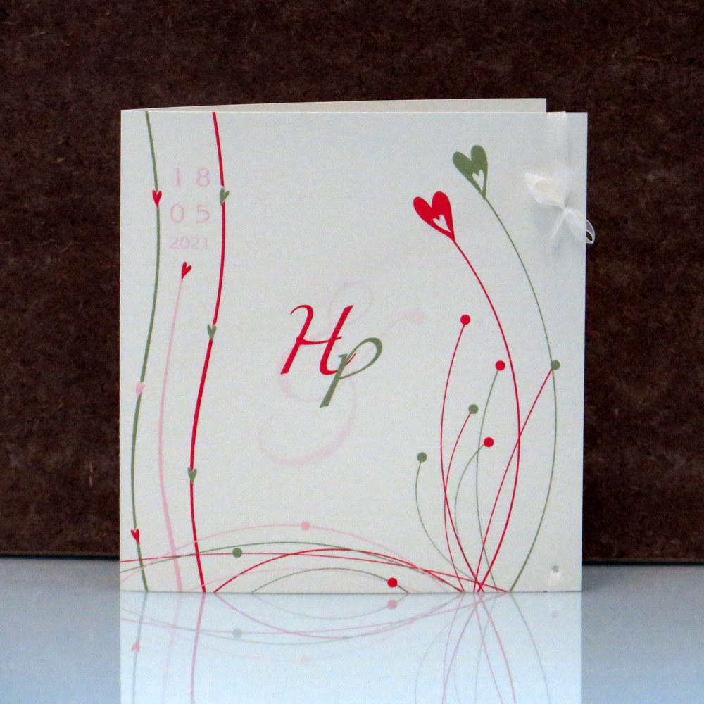 Hochzeitseinladung Liebesglück pink grün