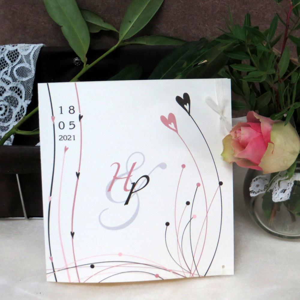 Hochzeitseinladung Liebesglück rosa braun
