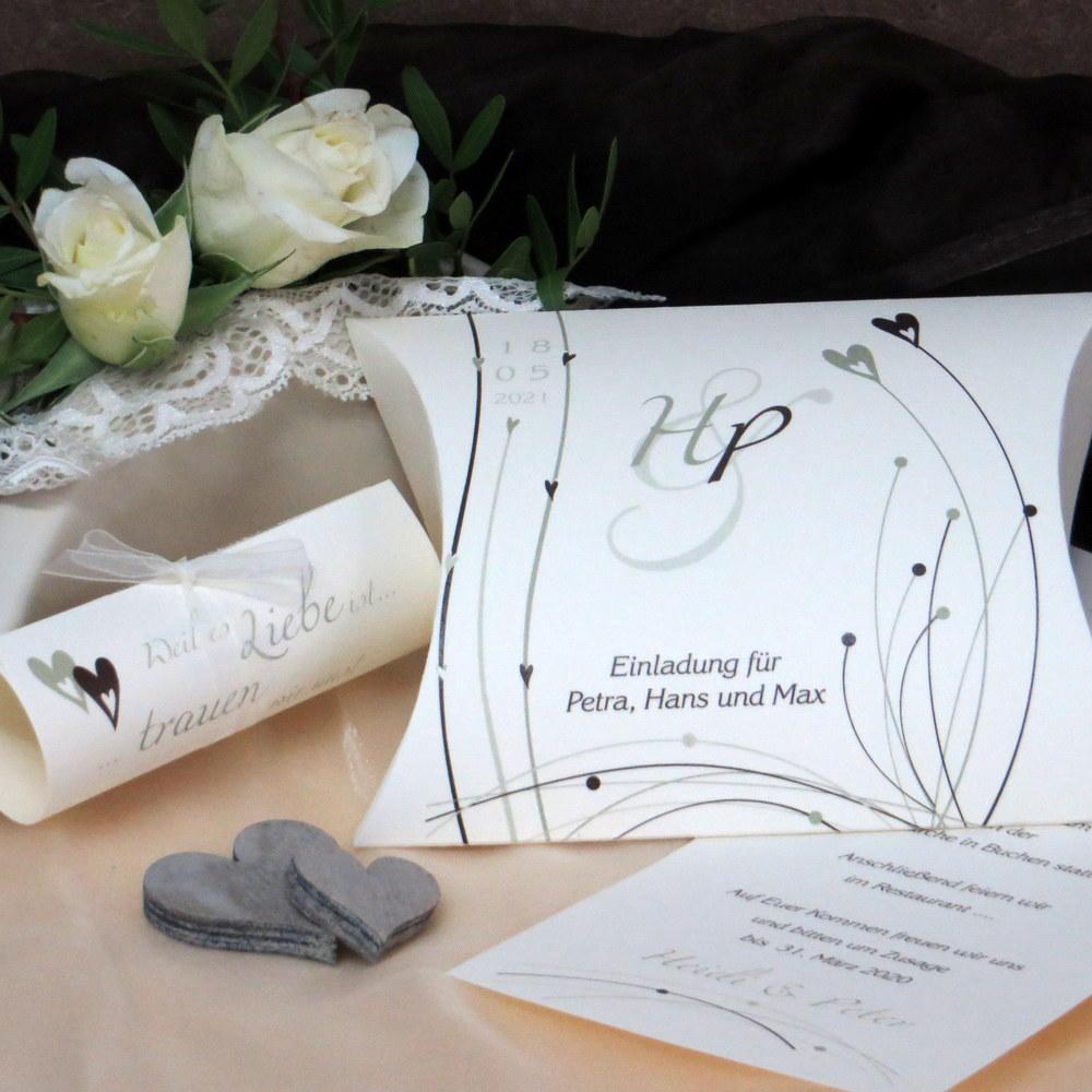 Hochzeitseinladung Liebesglück grün und braun