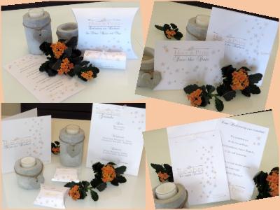 Romantische Hochzeitspapeterie mit kleinen Blumen in apricot und grau.