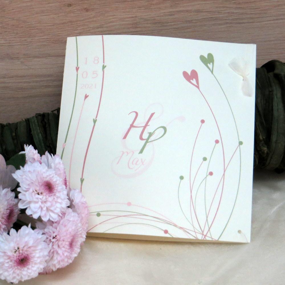 Traufeinladung Liebesglück rosa grün