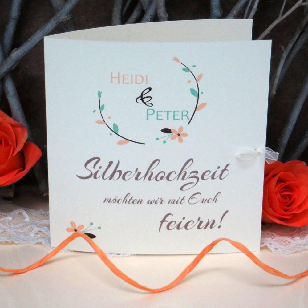 Einladung zur Silberhochzeit Amour apricot grün