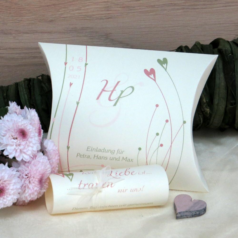 Hochzeitseinladung Liebesglück rosa grün