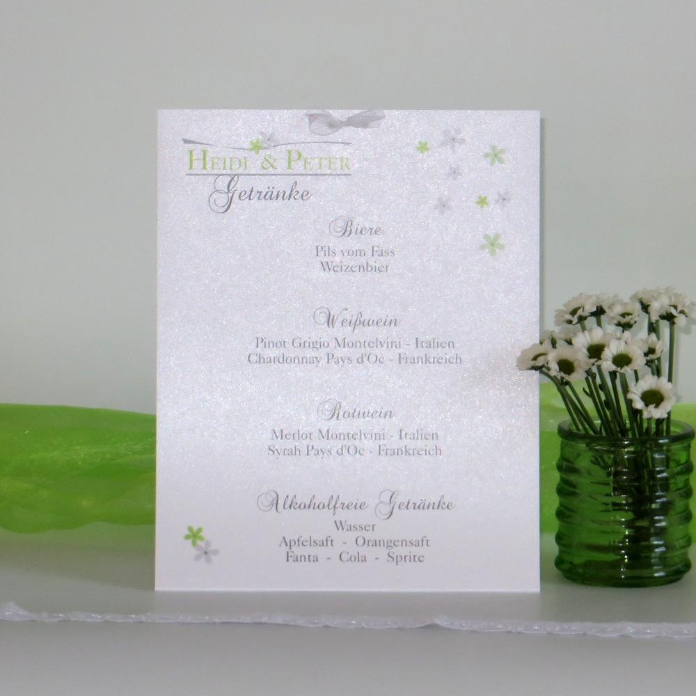 """Getränkekarte """"Blumenmeer"""" grün"""