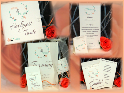 Papeterie für eine Hochzeit mit Taufe in creme mit apricot und mintgrün