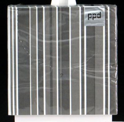 Grau-weiß gestreifte Servietten