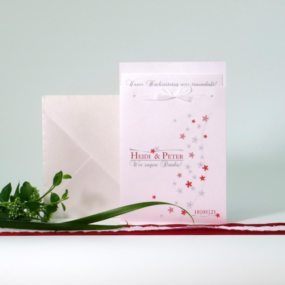 Dankeskarte nach der Hochzeit mit frischem Blumenprint in rot