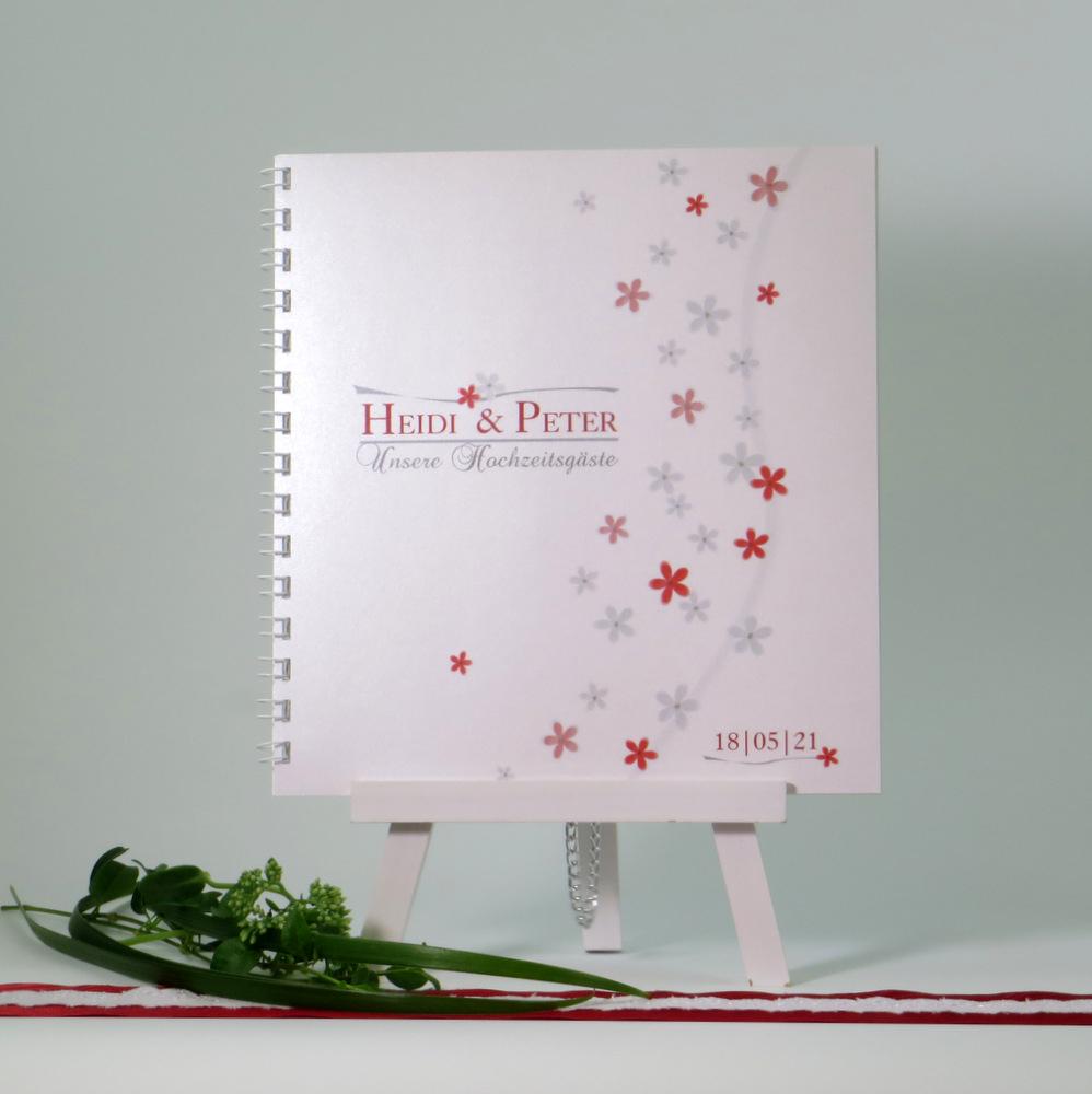 Gästebuch zur Hochzeit in angesagtem rot mit einem Meer aus Blumen