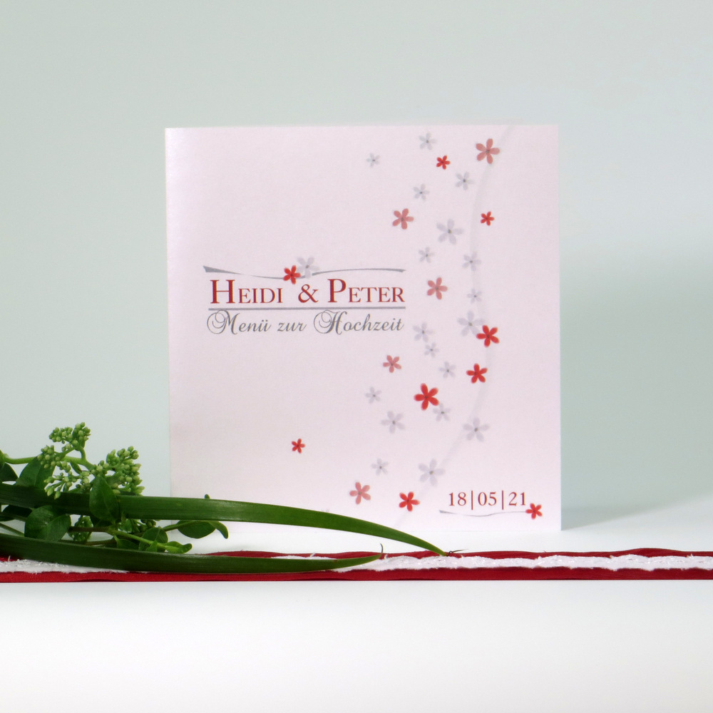 Menükarte mit Blumendesign in rot und grau