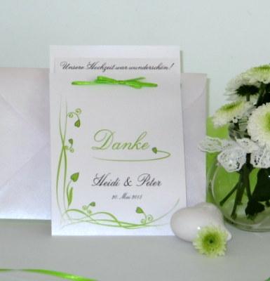 Dankeskarte nach der Hochzeit mit Design in grün