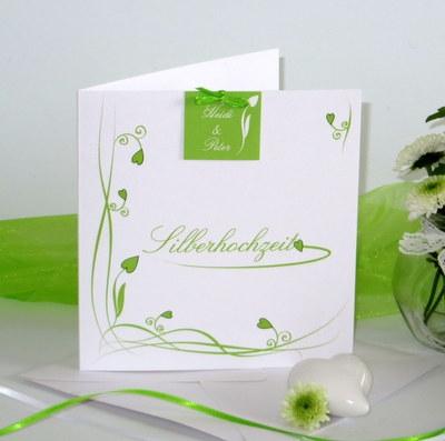 Einladungskarte zur Silberhochzeit in grün