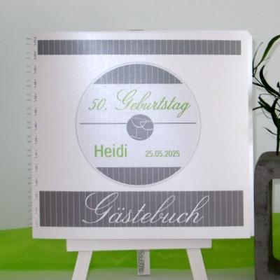 """Geburtstagsgästebuch """"Stripes"""" grün & grau"""