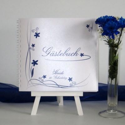 "Geburtstagsgästebuch ""Loop"" blau"