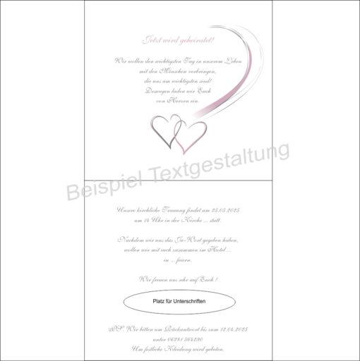 """Hochzeitseinladung """"Harmonie"""" rosa Innentextgestaltung"""