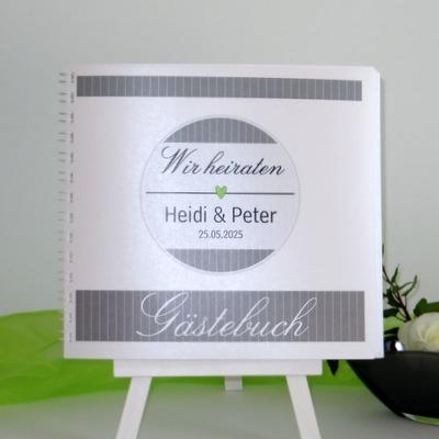 """Gästebuch """"Stripes"""" grün & grau"""