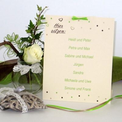 "Gruppentischkarte ""Dots"" grün"