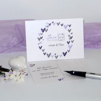 "Save the Date Karte ""Herzring"" lila & flieder"
