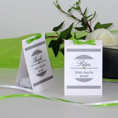 """Tischaufsteller """"Stripes"""" grün & grau"""