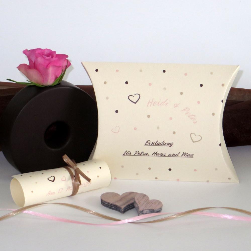 """Hochzeitseinladungsbox """"Dots"""" rosa"""