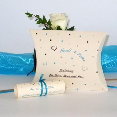 """Hochzeitseinladungsbox """"Dots"""" türkis"""