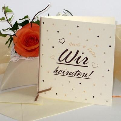 """Hochzeitseinladung """"Dots"""" apricot"""