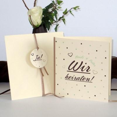 """Hochzeitseinladung """"Dots"""" mint"""