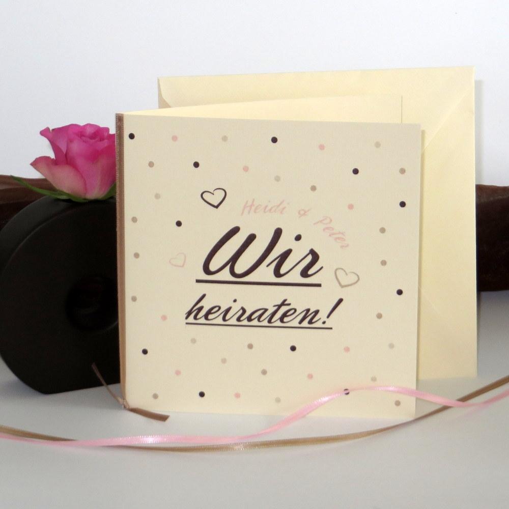 """Hochzeitseinladung """"Dots"""" rosa"""