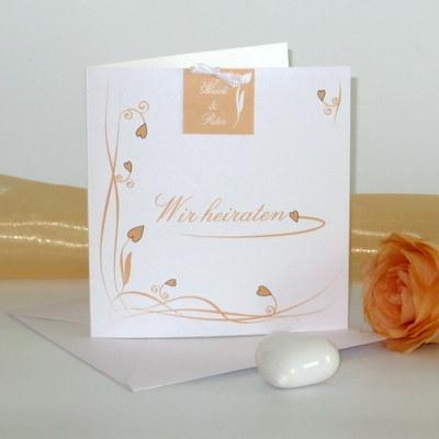 """Hochzeitseinladung """"Loop"""" apricot"""