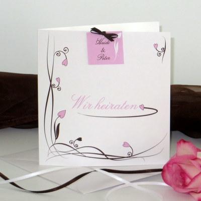 """Hochzeitseinladung """"Loop"""" rosa"""