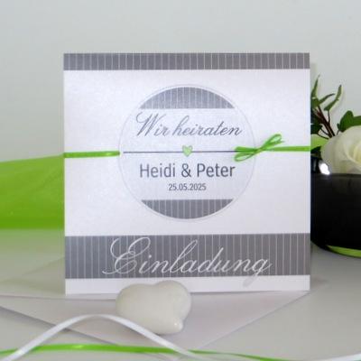 """Hochzeitseinladung """"Stripes"""" grün"""