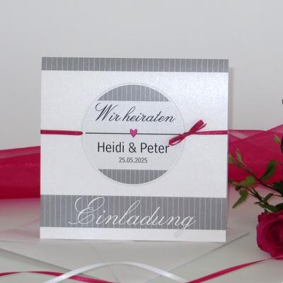 """Hochzeitseinladung """"Stripes"""" pink"""