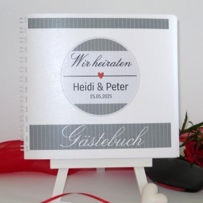"""Hochzeitsgästebuch """"Stripes"""" rot & grau"""