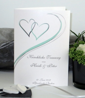 Liedheft zur Hochzeit in mint und grau mit zwei Herzen