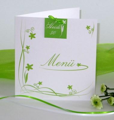 Menükarte zum Geburtstag in grün