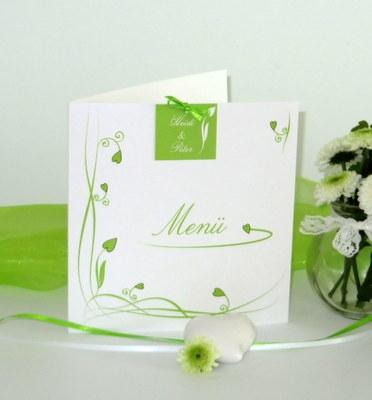 Menükarte zur Hochzeit in angesagtem grün