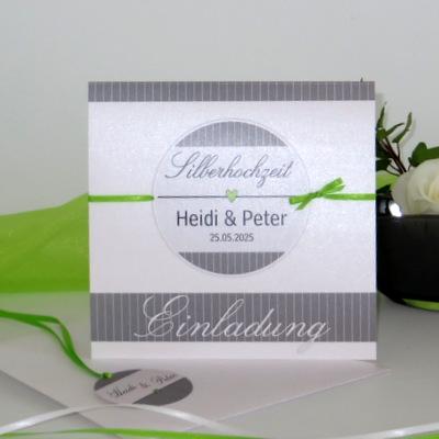 """Einladung zur Silberhochzeit """"Stripes"""" grün & grau"""