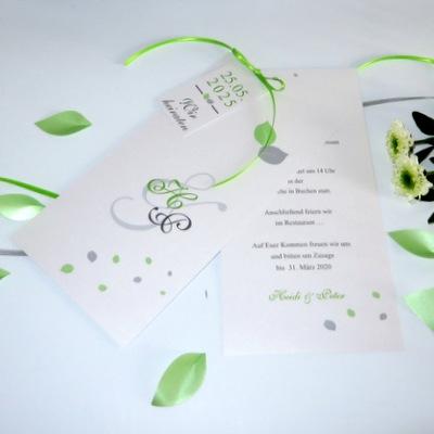 """Hochzeitseinladung """"Blättertraum"""" grün"""