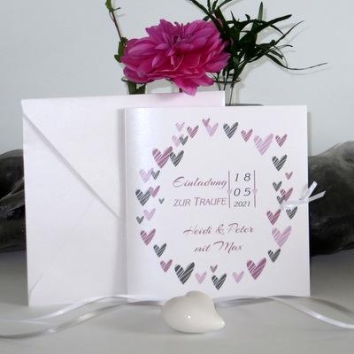 """Einladung zur Hochzeit und Taufe """"Herzring"""" rosa"""