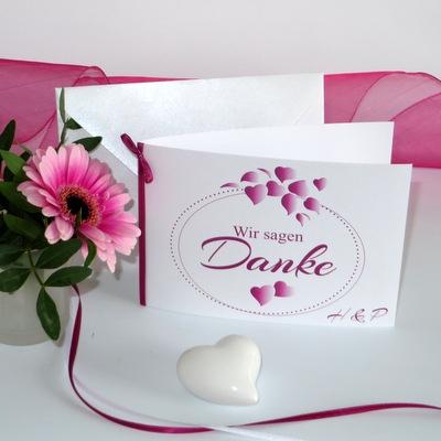 """Dankeskarte """"Herzblatt"""" pink"""